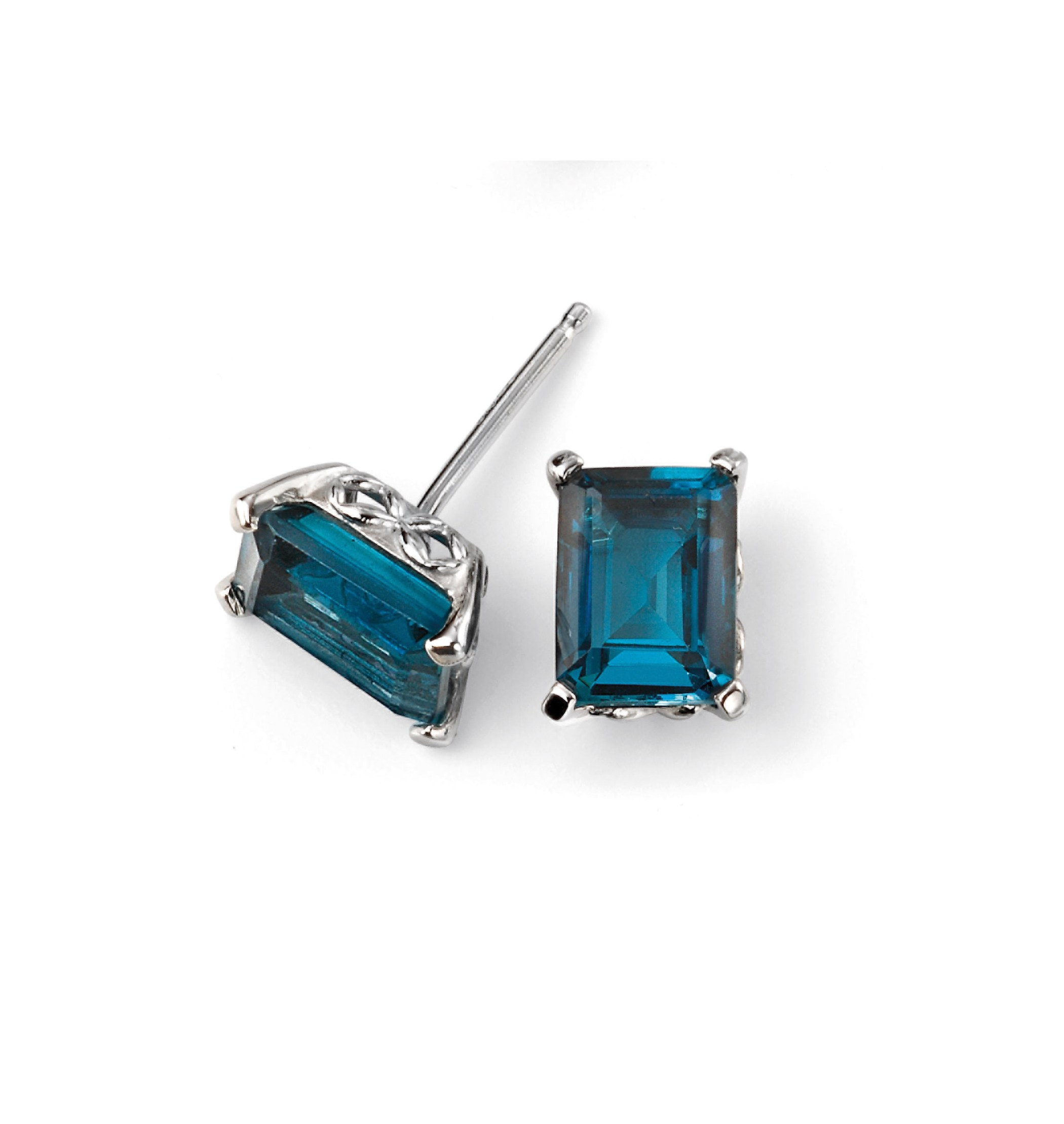 5900d83415db4 9ct White Gold London Blue Topaz Stud Earring with Gallery Detail