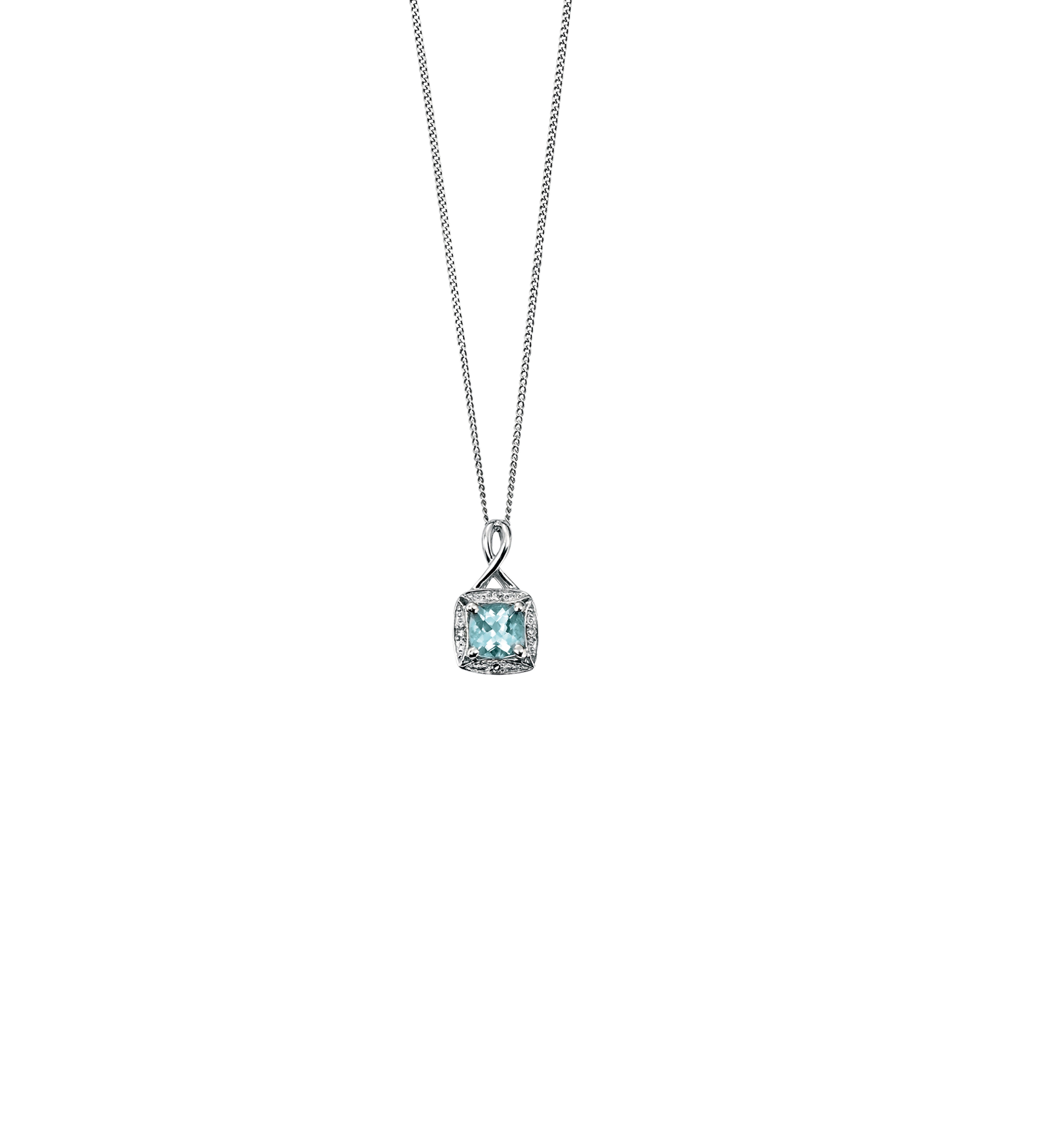 7a1c16a671fd3 9ct White Gold aquamarine pendant with twisted bale